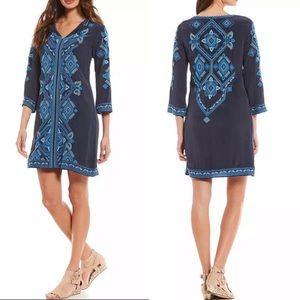 NWT Sigrid Olsen Sig. Blue Combo Embroidered Dress